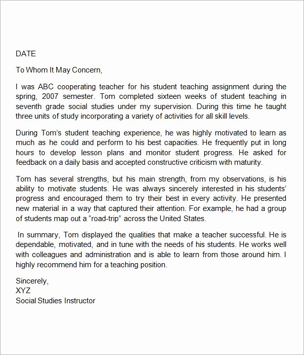 Reference Letter for Teachers Beautiful Sample Letter Of Re Mendation for Teacher