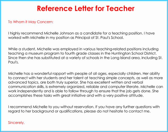Reference Letter for Teachers Best Of Teacher Re Mendation Letter 20 Samples Fromats