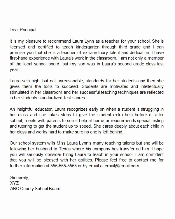 Reference Letter for Teachers Elegant Re Mendation Letter for A Teacher who is Relocating