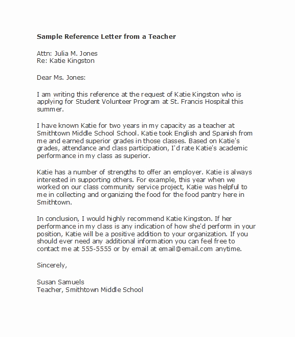 Reference Letter for Teachers New 50 Amazing Re Mendation Letters for Student From Teacher