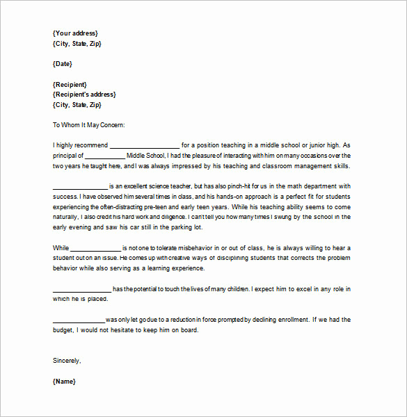 Reference Letter for Teachers New Letter Of Re Mendation for Teacher – 12 Free Word