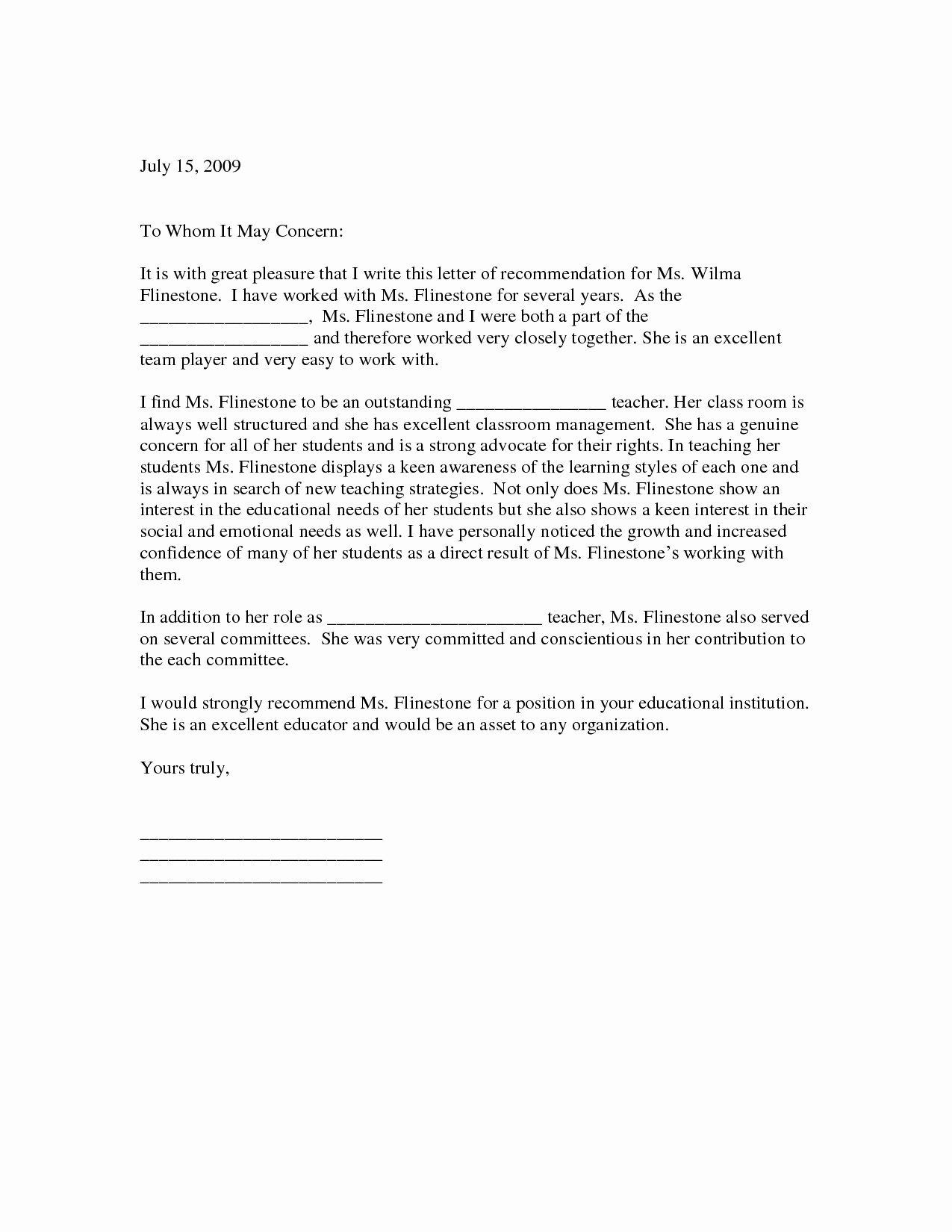 Reference Letter for Teaching Lovely Sample Letter Of Re Mendation for Teacher