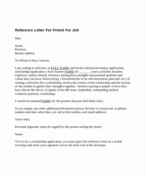 Reference Letters for Employment Beautiful 5 Reference Letter for Friend Templates Free Sample