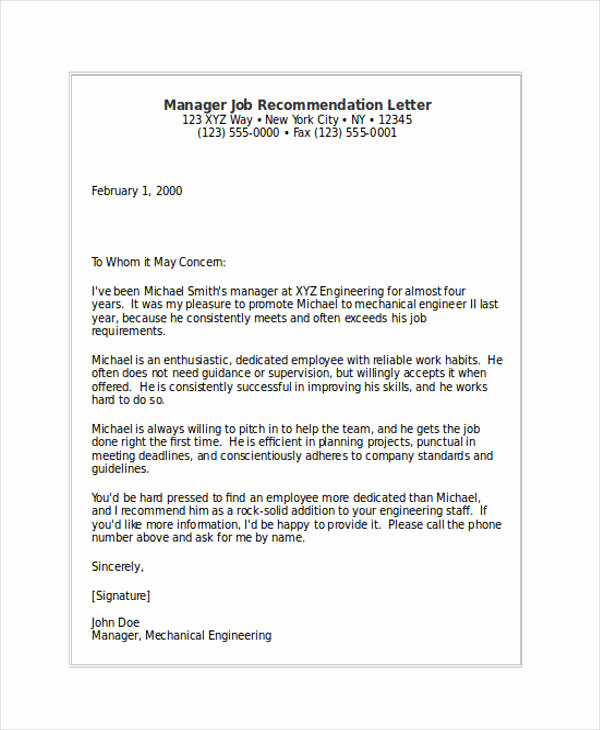 Reference Letters for Employment Beautiful 89 Re Mendation Letter Examples & Samples Doc Pdf