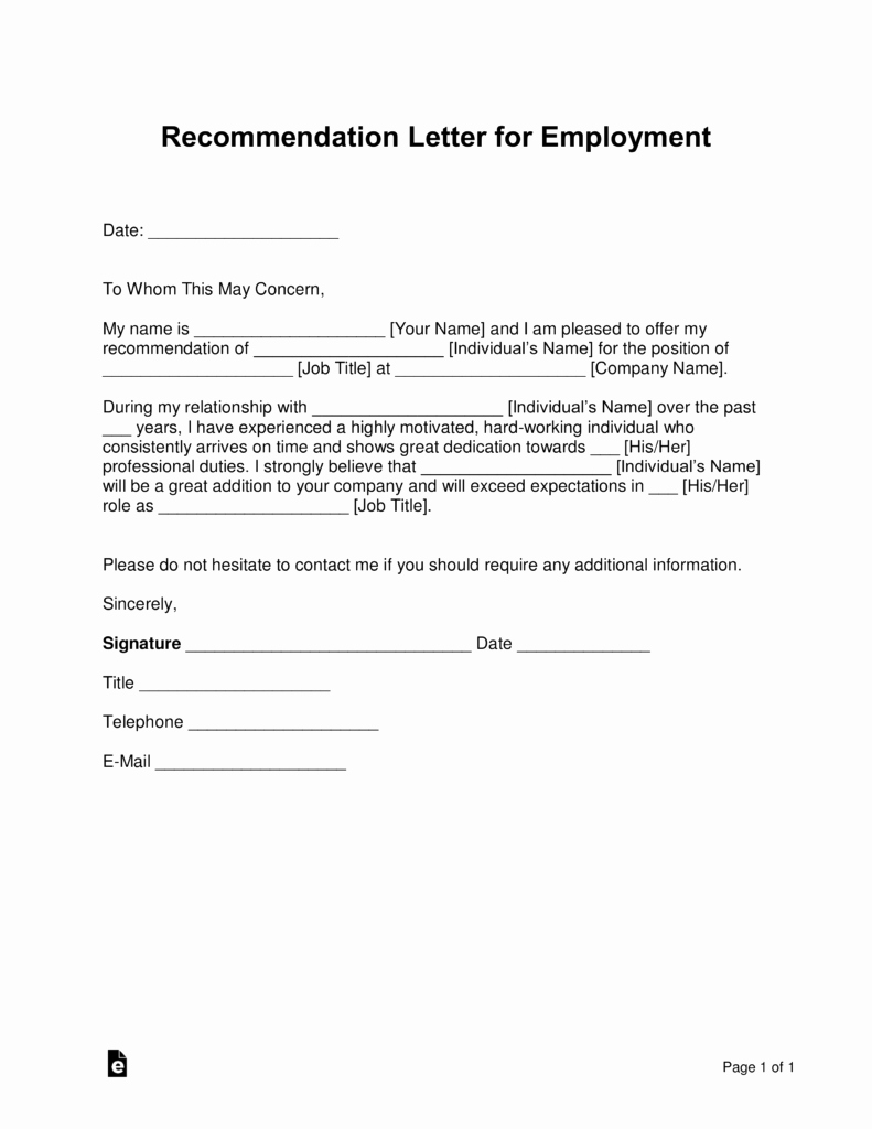 Reference Letters for Employment Best Of Free Job Re Mendation Letter Template with Samples