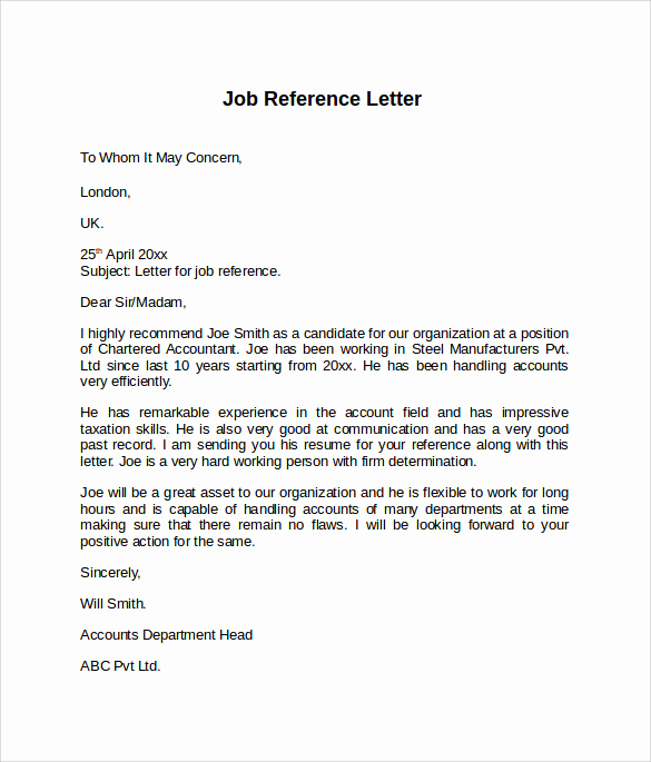 Reference Letters for Employment Elegant Job Reference Letter 7 Free Samples Examples & formats