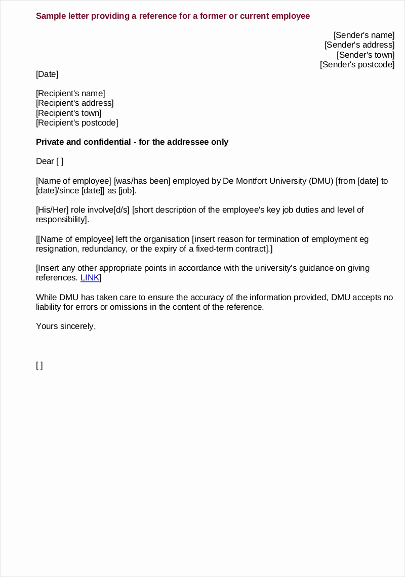 Reference Letters for Employment Fresh 9 Employee Reference Letter Examples & Samples In Pdf