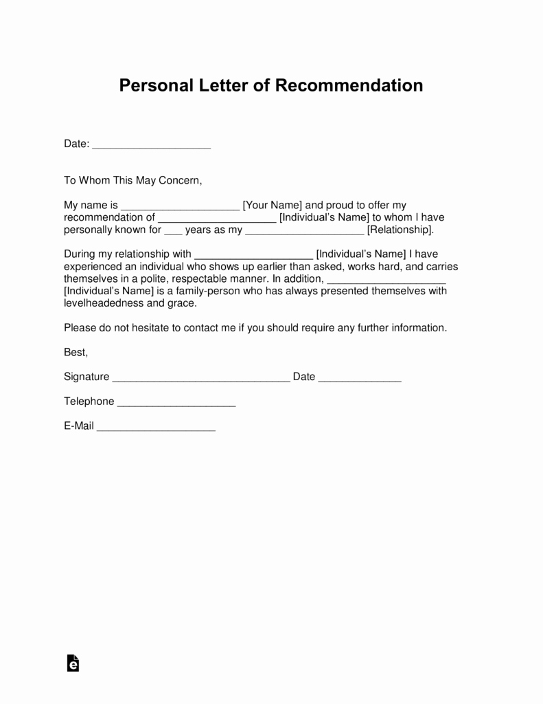 Reference Letters for Employment Fresh Free Personal Letter Of Re Mendation Template for A