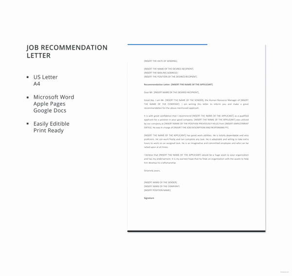 Reference Letters for Employment Inspirational 8 Job Re Mendation Letter Templates Doc
