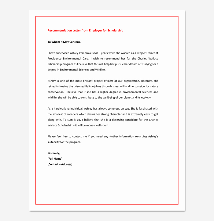 Reference Letters From Employer Awesome Re Mendation Letter for Graduate School From Employer