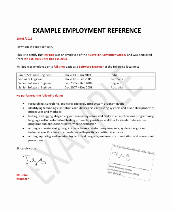 Reference Letters From Employers Best Of Employment Reference Letter 8 Free Word Excel Pdf