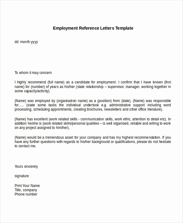 Reference Letters From Employers Fresh Sample Re Mendation Letter for Job From Employer within