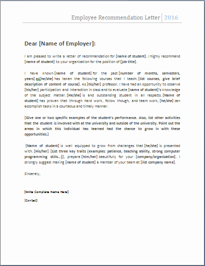 Reference Letters From Employers New 4 Academic and Employee Re Mendation Letters