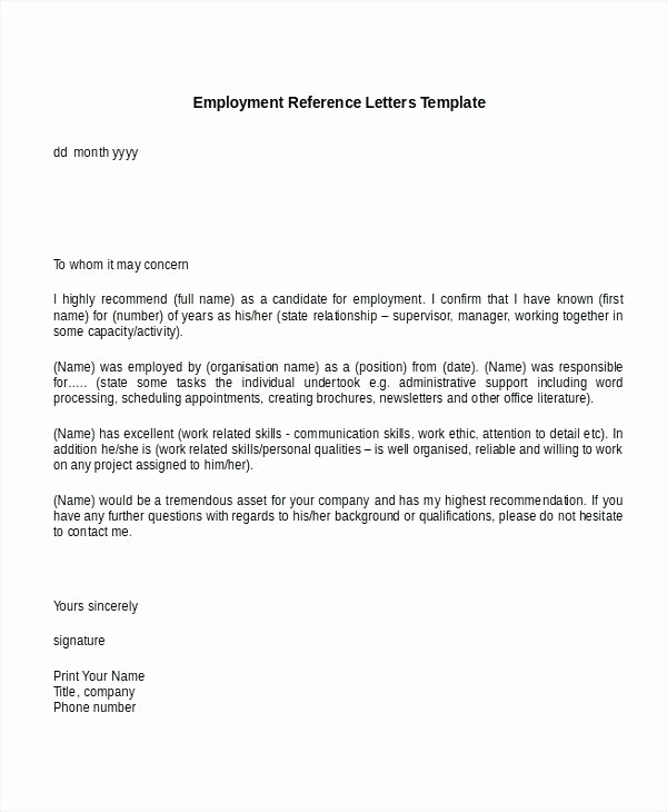 References Letter From Employer Best Of 9 Reference Letter for Employment Examples Pdf