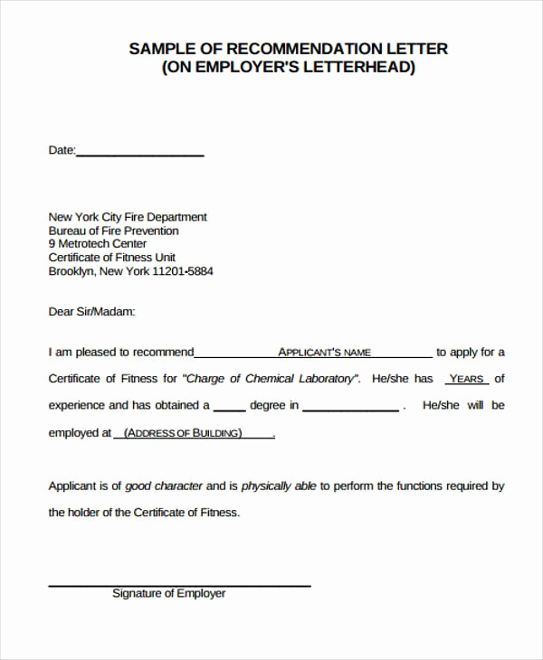 References Letter From Employer New Employer Re Mendation Letter Sample 9 Examples In