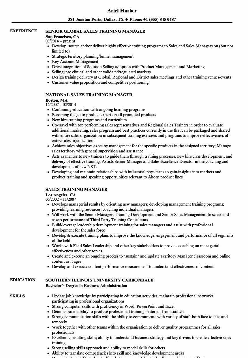 Regional Sales Manager Job Description Awesome Sales Training Manager Resume Samples