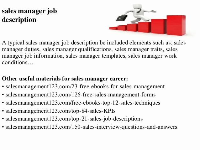 Regional Sales Manager Job Description Best Of Sales Manager Job Description