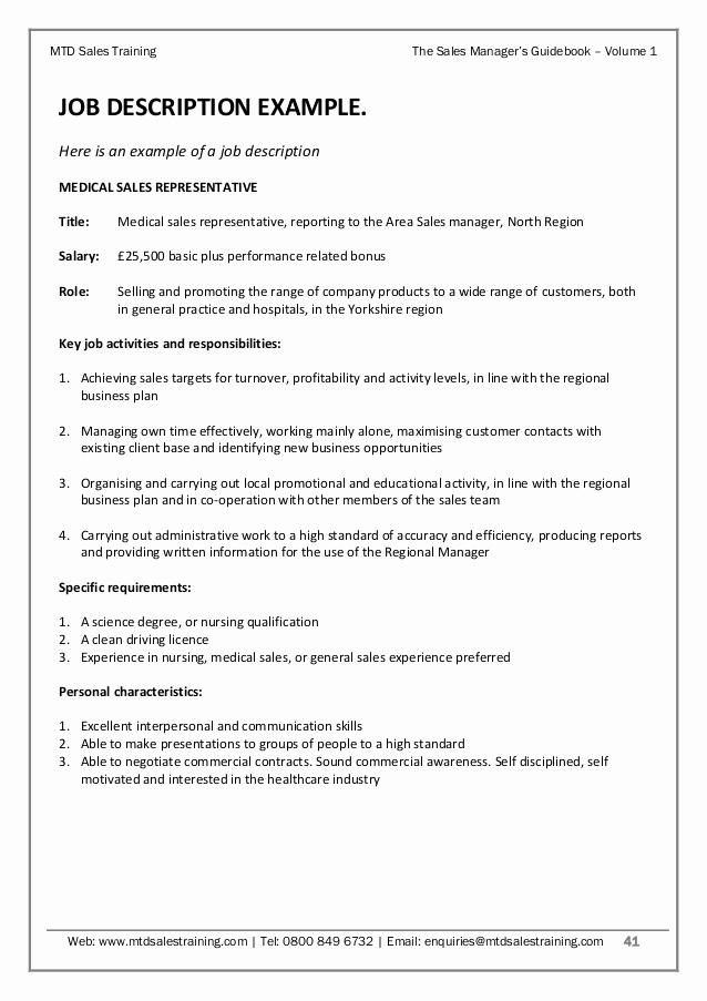 Regional Sales Manager Job Description Elegant Sales Manager's Guidebook Volume 1 Sales Planning