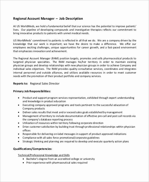 Regional Sales Manager Job Description Inspirational Sample Accounting Manager Job Description 10 Examples