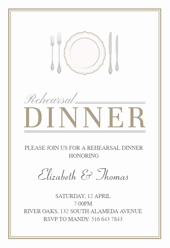 Rehearsal Dinner Invitation Template Best Of Elegant Setting Free Rehearsal Dinner Party Invitation