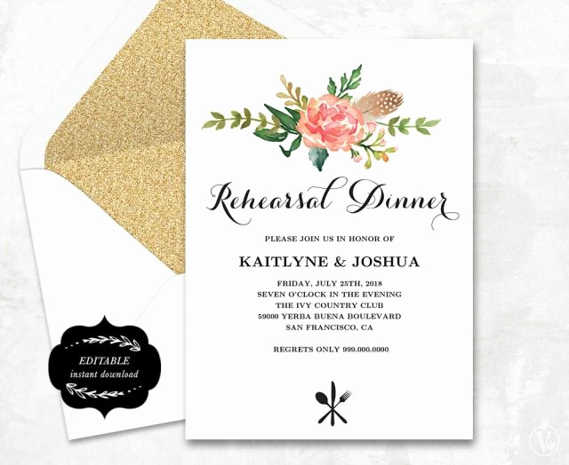 Rehearsal Dinner Invitation Template Best Of Printable Rehearsal Dinner Invitation Card Template