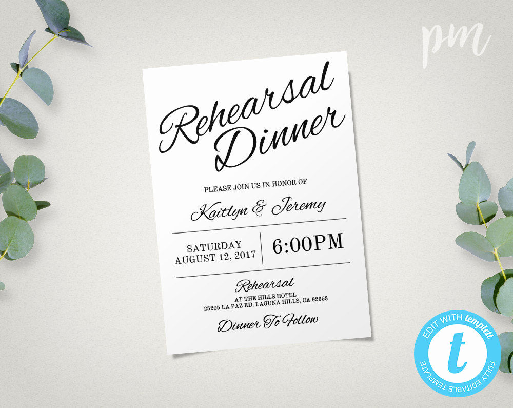 Rehearsal Dinner Invitation Template Best Of Rehearsal Dinner Invitation Template Instant Download