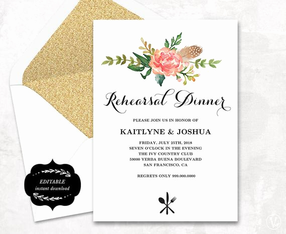 Rehearsal Dinner Invitation Template Elegant Printable Rehearsal Dinner Invitation Card Template Floral