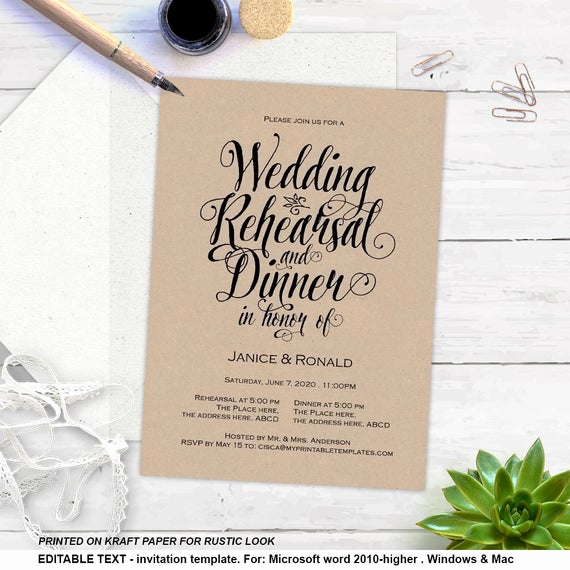 Rehearsal Dinner Invitation Template Fresh Printable Rehearsal Dinner Rustic Invitation Templates