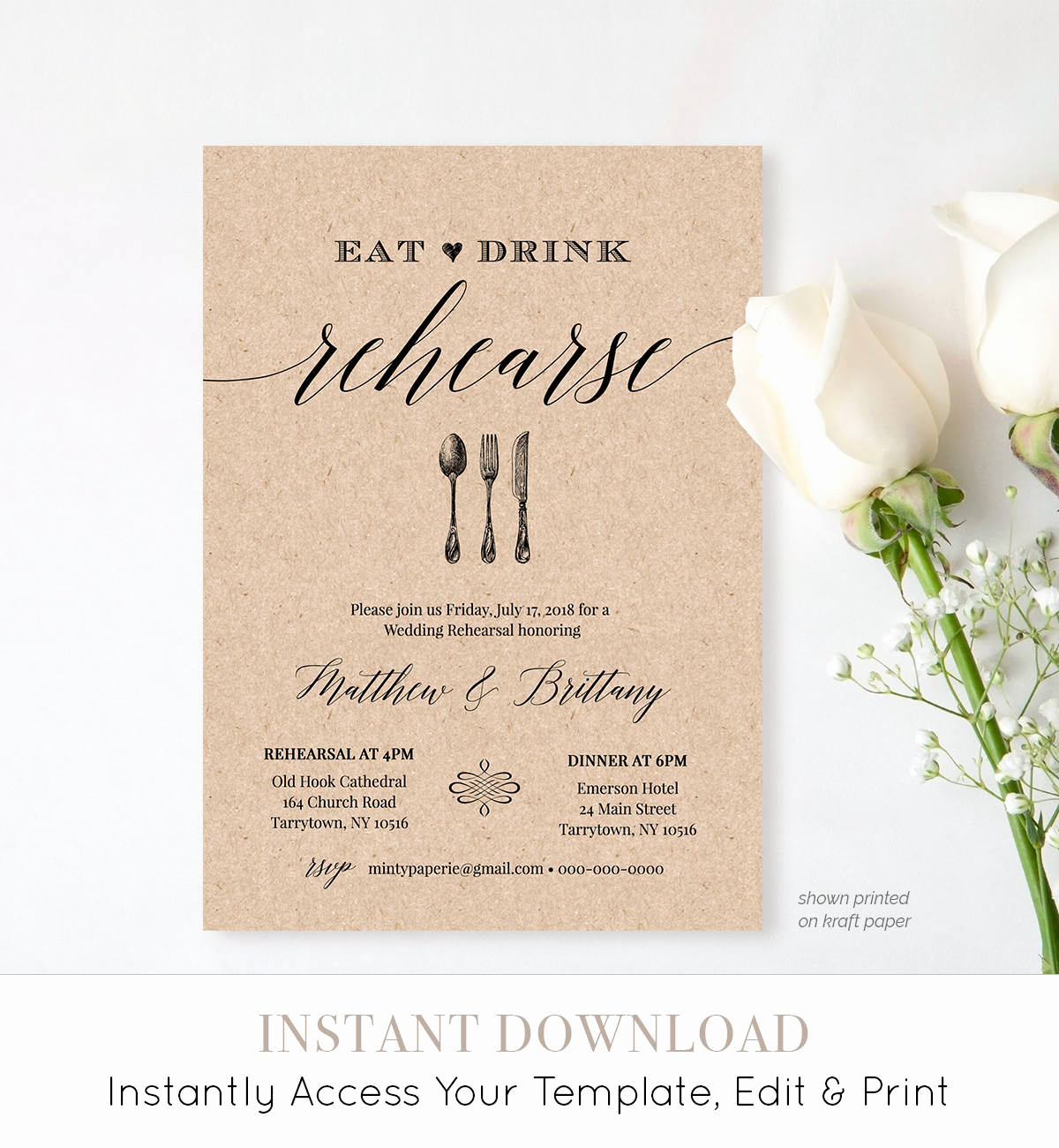 Rehearsal Dinner Invitation Template Lovely Rehearsal Dinner Invitation Template Printable Rustic Wedding
