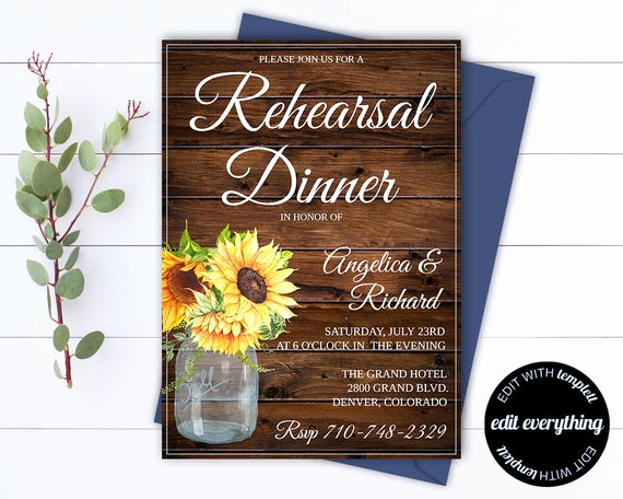Rehearsal Dinner Invitation Template Lovely Rustic Wedding Rehearsal Dinner Invitation Template Wedding