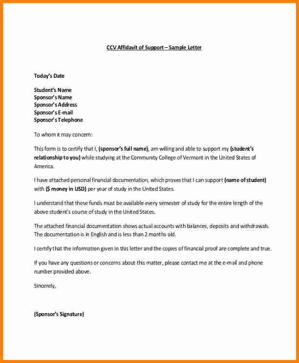 Relationship Support Letters Immigration Beautiful 5 Example Of Affidavit