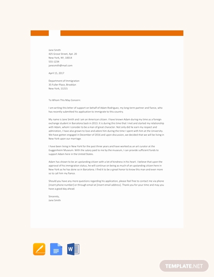 Relationship Support Letters Immigration Fresh Free Immigration Letter Of Support Template Download 1639