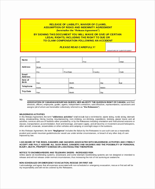 Release From Liability form Elegant Sample Release Of Liability form 9 Examples In Pdf Word