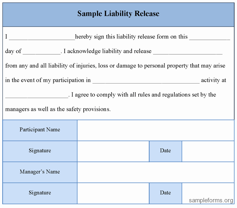 Release From Liability form New Free Printable Liability Release form Sample form Generic