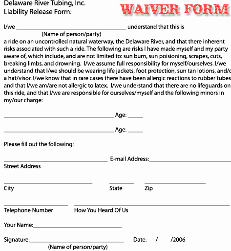 Release From Liability form Unique Free Printable Liability Release Waiver form form Generic
