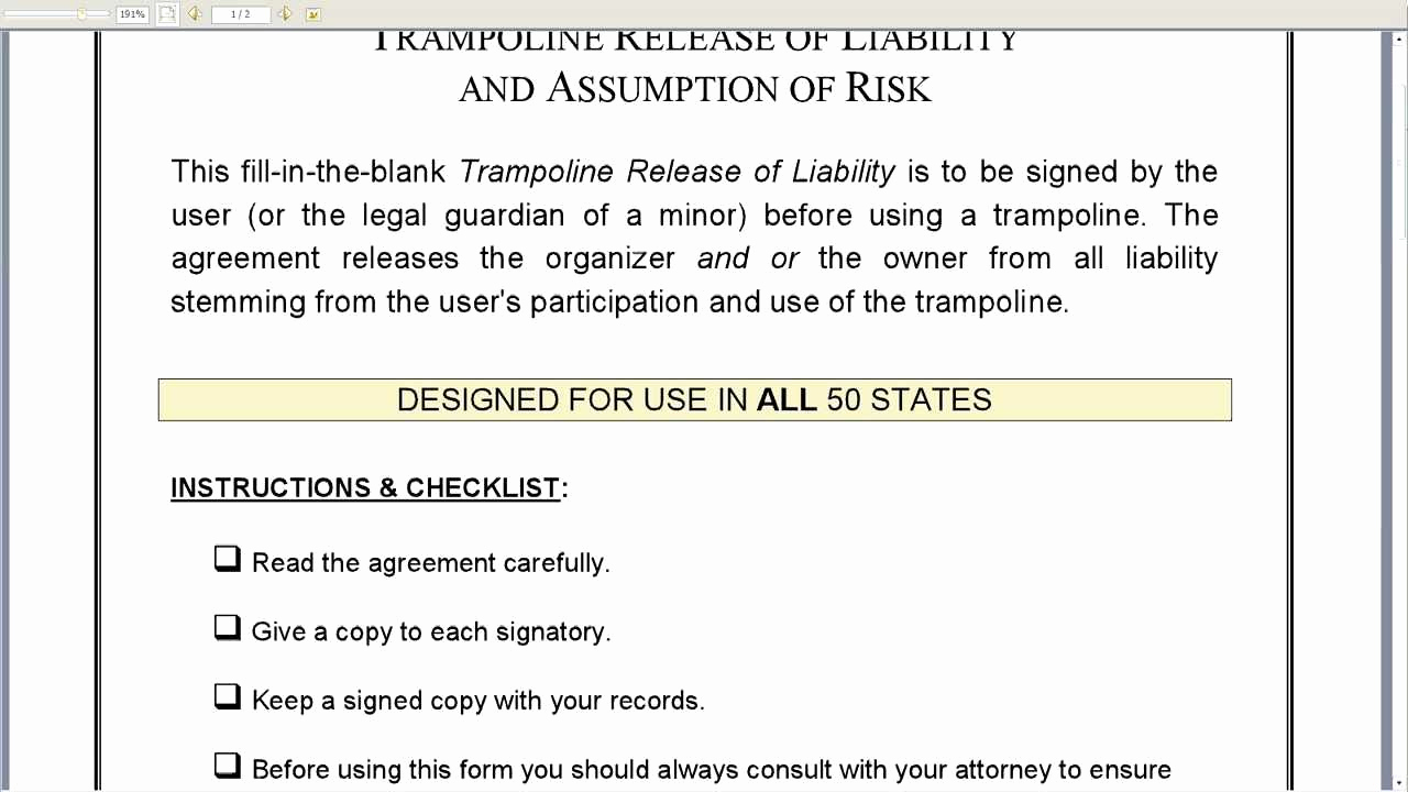 Release From Liability form Unique Trampoline Release Of Liability