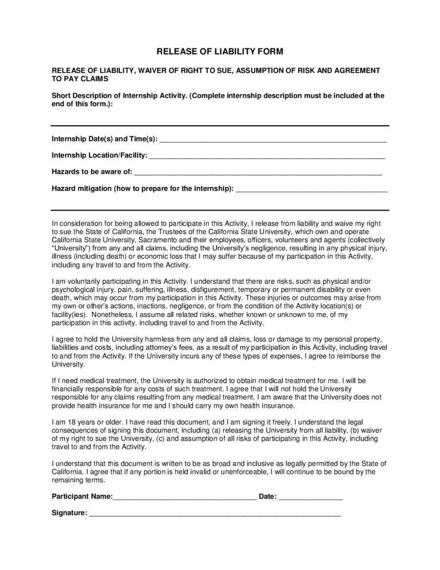 Release Of Liability form Pdf Awesome General Release Of Liability form Edit Fill Sign