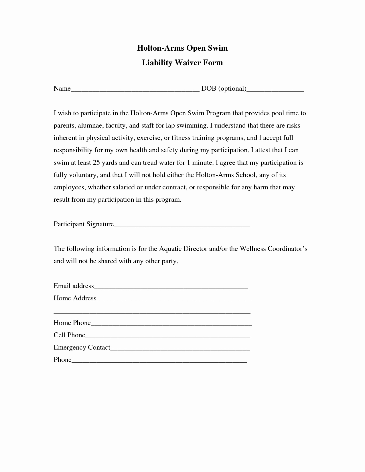Release Of Liability form Pdf Awesome Liability Insurance Liability Insurance Waiver Template