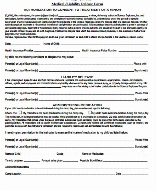 Release Of Liability form Pdf Beautiful Sample General Liability Release form 7 Examples In
