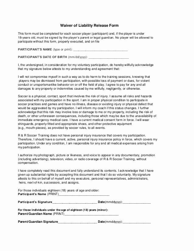 Release Of Liability form Pdf Elegant Free Printable Liability Release Waiver form form Generic