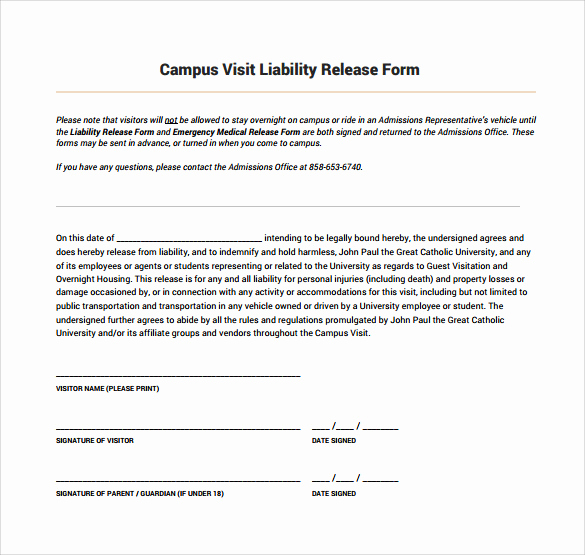 Release Of Liability form Pdf Elegant Sample Liability Release form Examples 9 Download Free