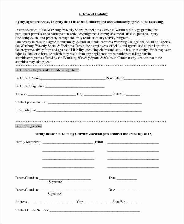 Release Of Liability form Pdf Unique 9 Sample Release forms
