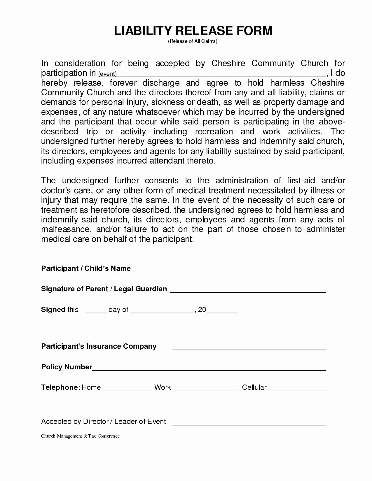 Release Of Liability form Template Awesome Personal Injury Waiver form – Emmamcintyrephotography