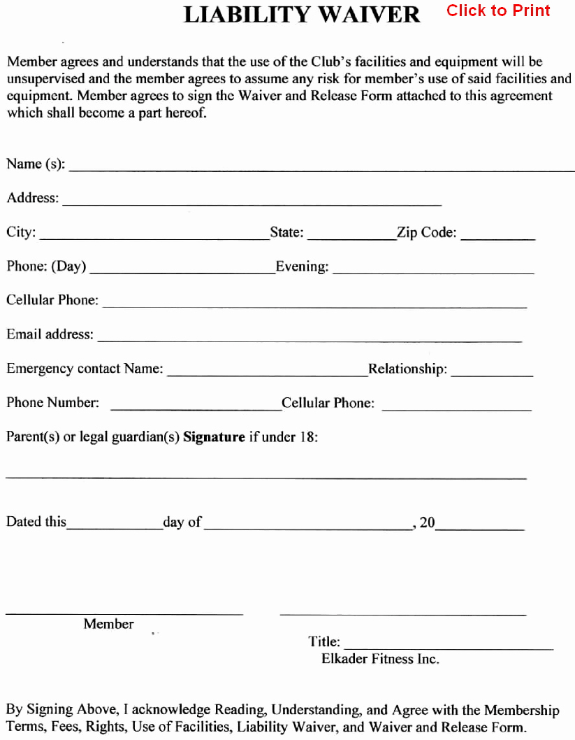 Release Of Liability form Template Inspirational 24 Of Sports Liability Waiver form Template