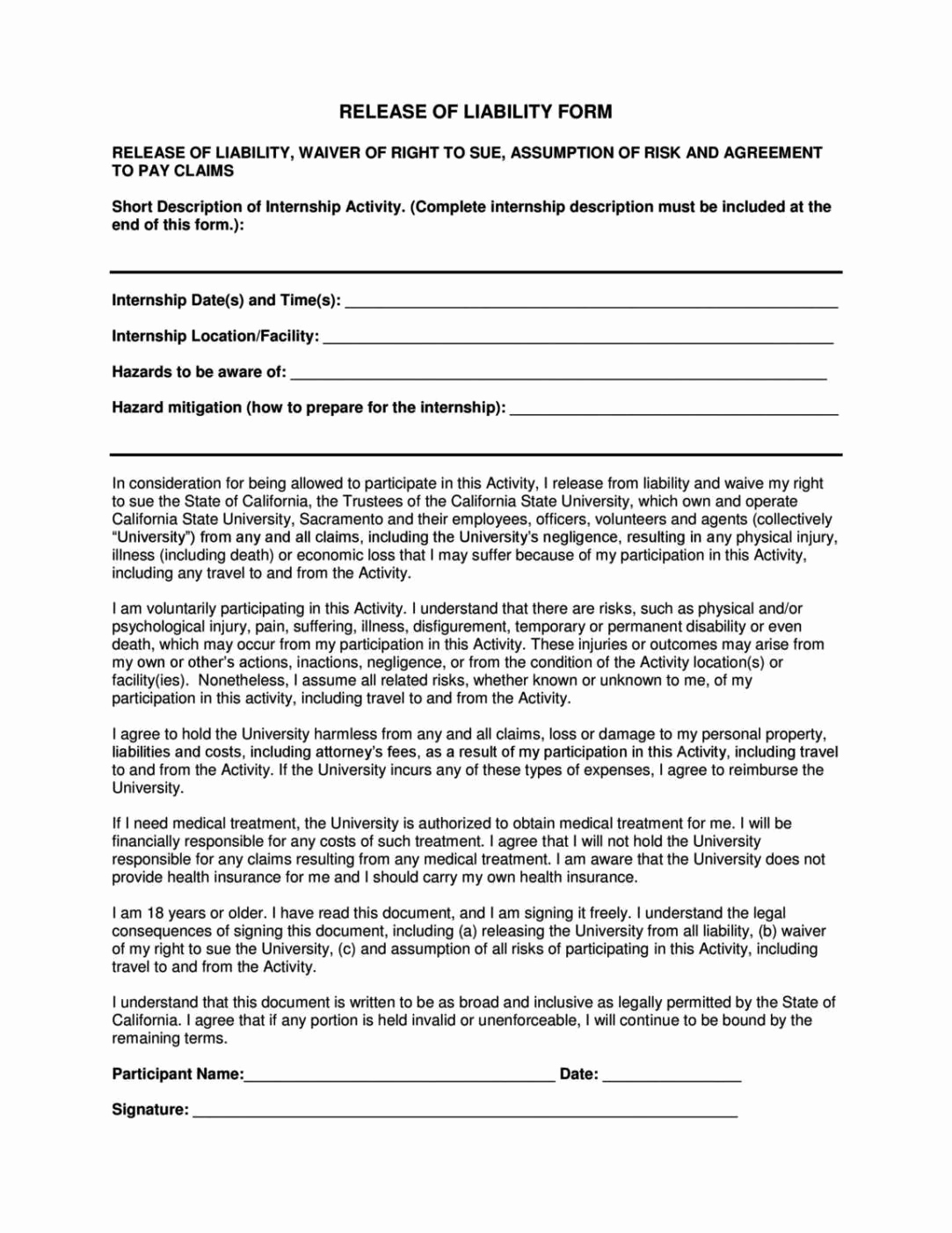 Release Of Liability form Template Inspirational General Liability Release form Template Sampletemplatess