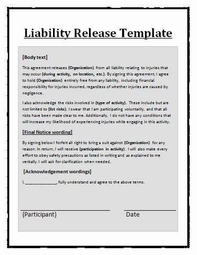 Release Of Liability form Template Inspirational Liability Waiver Template