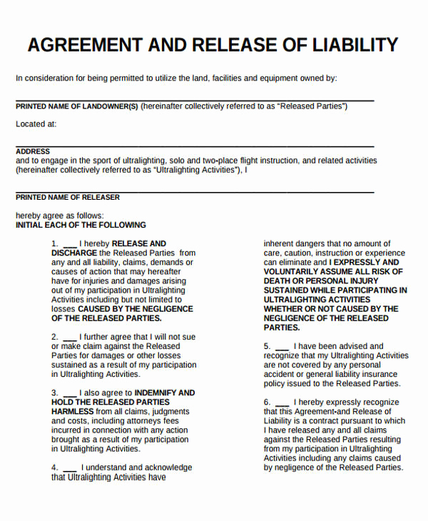 Release Of Liability form Template Inspirational Sample General Liability Release form 7 Examples In