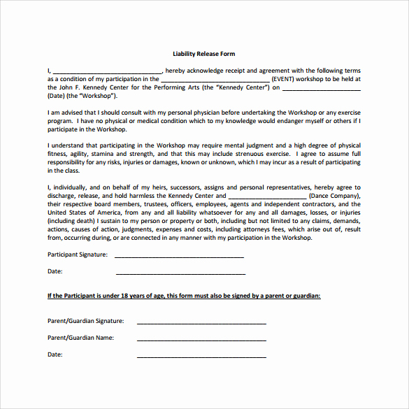 Release Of Liability form Template Inspirational Sample Liability Release form Examples 9 Download Free