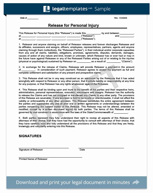 Release Of Liability form Template New Free Release Of Liability form