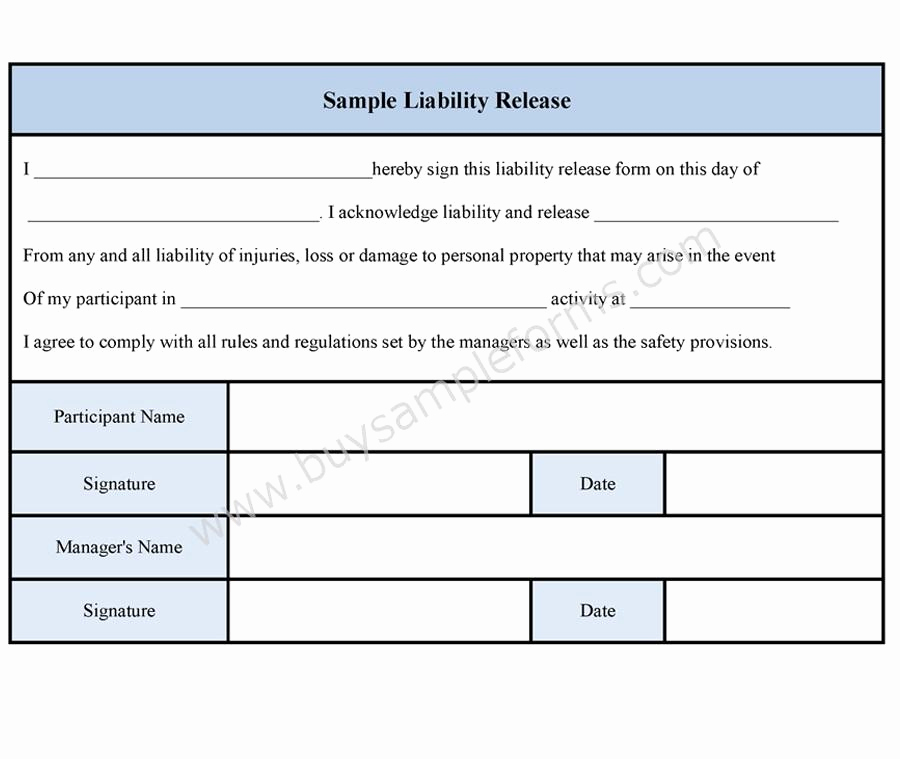 Release Of Liability form Template New Sample Liability Release form Sample forms